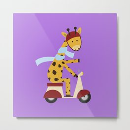Giraffe on Motor Scooter Metal Print