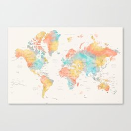 World map with countries and states, FIFI Canvas Print