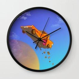 A legos brick and a taxi fly Wall Clock