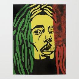 rasta man,vibration,jamaica,reggae,music,smoke,ganja,weed,pop art,portrait,wall mural,wall art,paint Poster