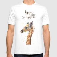 You Are My Sunshine Giraffe Nursery Animals Watercolor Art White Mens Fitted Tee MEDIUM