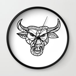 Texas Longhorn Bull Head Mosaic Wall Clock
