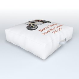 Barry Sheene 2, the hand tinted version Outdoor Floor Cushion