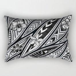 Vintage Hawaiian Tribal Floral Tattoo Tapa Print Rectangular Pillow