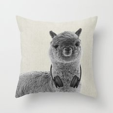 Portrait of Alpaca Throw Pillow