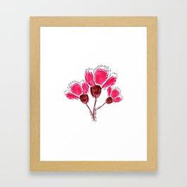 Pink Doodle Flowers Pattern Framed Art Print