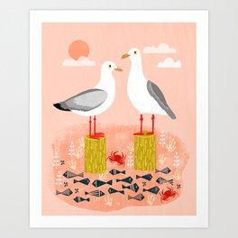 Seagulls - Bird Art, Coastal Nautical Summer Bird Print by Andrea Lauren Art Print