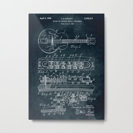 Bridge for stringed musical instruments patent Metal Print
