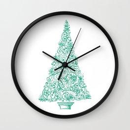 green Christmas tree in New Zealand Wall Clock