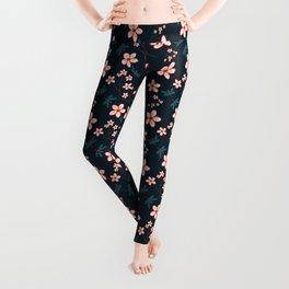 Cherry Blossom Season Dark Green Background Leggings