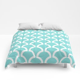 Classic Fan or Scallop Pattern 731 Turquoise Comforters