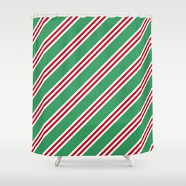 Christmas Stripes Large Small Small Shower Curtain