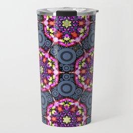 Floral Patterns and Gray Circles Travel Mug