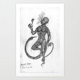 Black Yoga: self-sacrifice Art Print