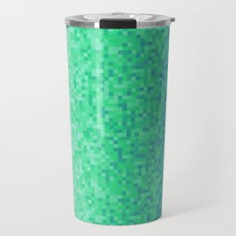 Deep Sea Green Blue Pixilated Gradient Travel Mug