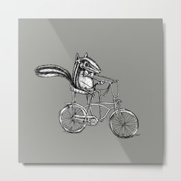 Ride On Chipmunk_grey Metal Print