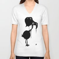flamingo V-neck T-shirts featuring Flamingo by NOME