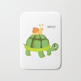 Cute Snail Riding Turtle Adorable Animal Bath Mat