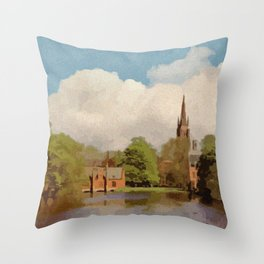 The Lake of Love Bruges art Throw Pillow