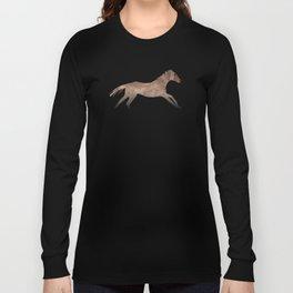 Running Watercolor Horses Brown Long Sleeve T-shirt