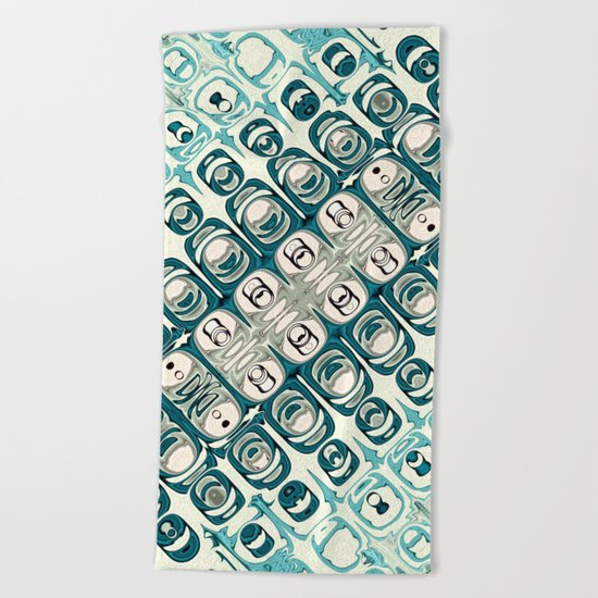 Turquoise Tile Pattern Beach Towel