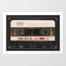 Retro 80's objects - Compact Cassette Art Print