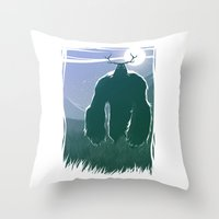 yeti Throw Pillows featuring Yeti by Megalomatthew