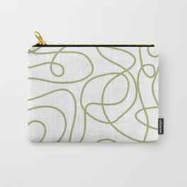 Doodle Line Art | Spring Leaf Green Lines on White Background Carry-All Pouch