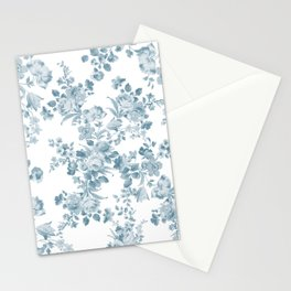 Vintage blue white bohemian elegant floral Stationery Cards