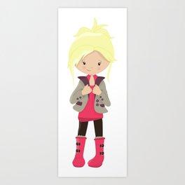 Fashion Girl, Blonde Hair, Brown Leggings, Boots Art Print