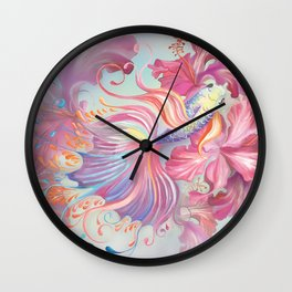 Pastel Fish Drawn Wall Clock