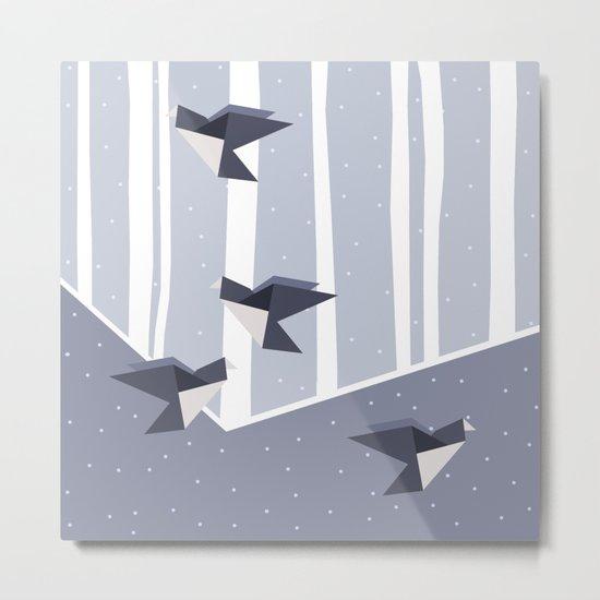 Elegant Origami Birds Abstract Winter Design Metal Print