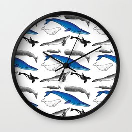 Undersea Whale Pattern White Background Wall Clock