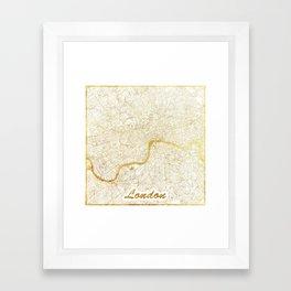 London Map Gold Framed Art Print