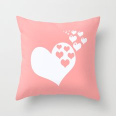 Coral White Hearts of Love Throw Pillow