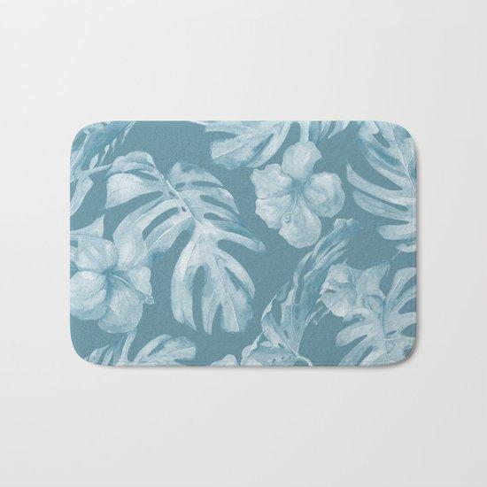 Tropical Escape Teal Blue Leaves + Hibiscus Bath Mat