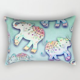 ELEPHANT PARTY MINT Rectangular Pillow