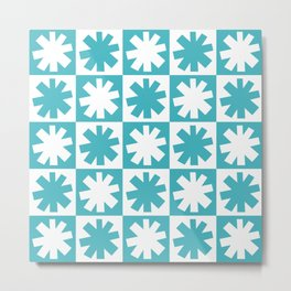 Mid Century Modern Check and Star Pattern 223 Turquoise Metal Print