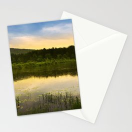 Aqua Sunset Landscape Stationery Cards