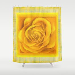 Yellow Rose On Plaid Shower Curtain