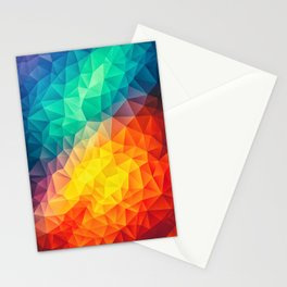 Abstract Polygon Multi Color Cubism Low Poly Triangle Design Stationery Cards