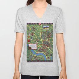 HARVARD University map CAMBRIDGE Unisex V-Neck