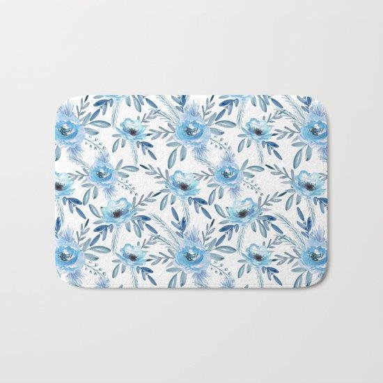 Blue roses. Watercolor Bath Mat