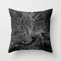 minneapolis Throw Pillows featuring minneapolis map by Line Line Lines