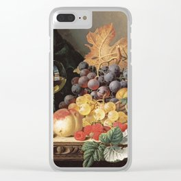Edward Ladell - A Basket Of Grapes, Raspberries Clear iPhone Case