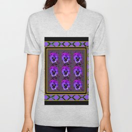 GARDEN OF PURPLE PANSY FLOWERS BLACK & TEAL PATTERNS Unisex V-Neck