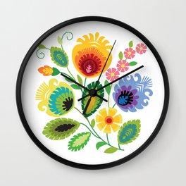 Polish Folk Flowers Yellow Wall Clock