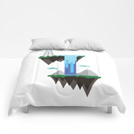 Floating islands with lighthouse Comforters
