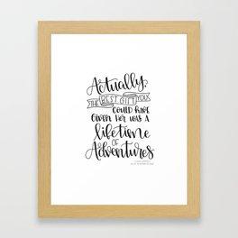 Lifetime of Adventures - Alice in Wonderland Quote Framed Art Print