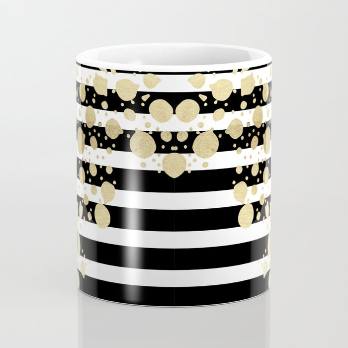 Faux Gold Paint Splatter on Black & White Stripes Coffee Mug